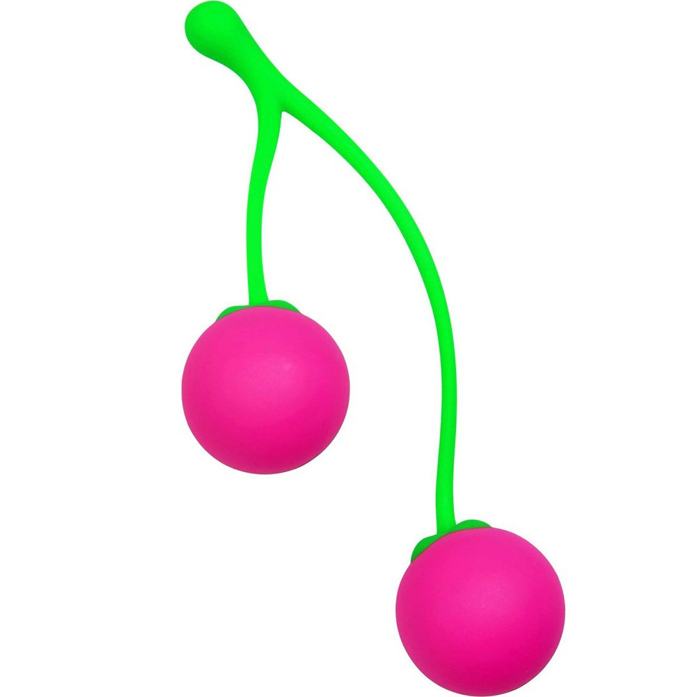 XR Brands Frisky Charming Cherries Silicone Kegel Exercisers Pink and Green - View #3