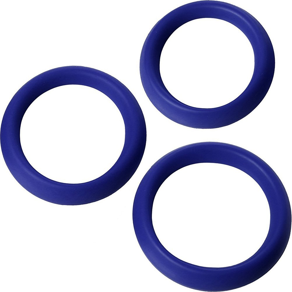 Trinity Vibes 3 Piece Silicone Erection Rings Blue - View #2