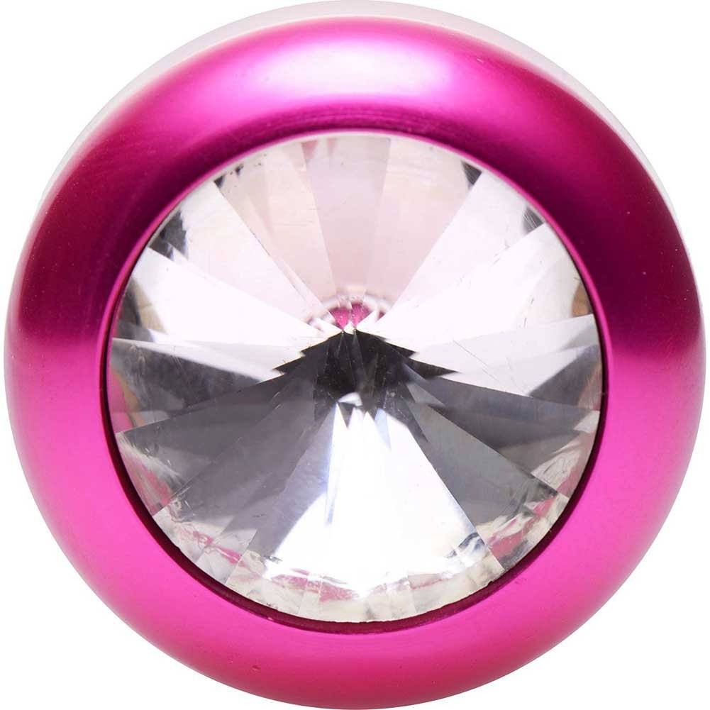XR Brands Vogue Solitaire Gem Accented Aluminium Anal Plug Pink - View #3