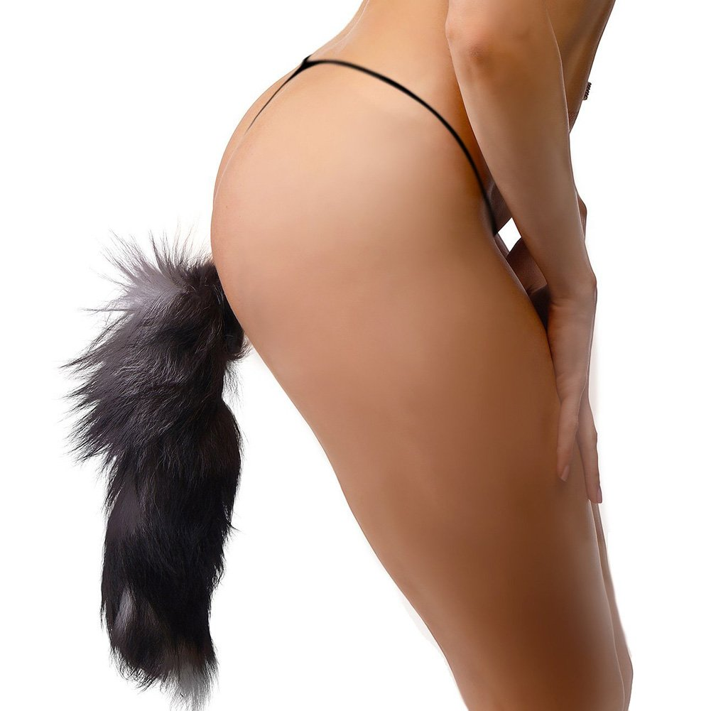 "Frisky Faux Fox Tail Butt Plug for Men and Women 4.5"" Black - View #1"