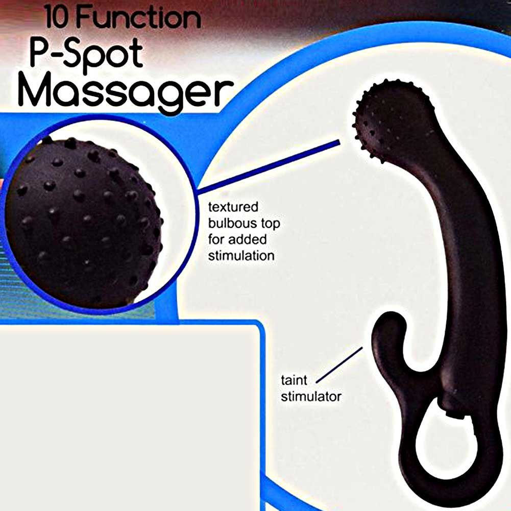 "Trinity Vibes Vigor 10 Function Silicone P-Spot Waterproof Massager 7"" Black - View #1"