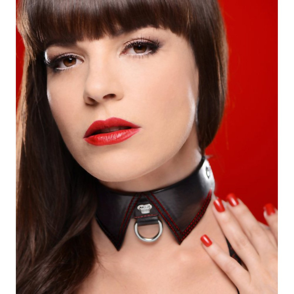 Master Series Crimson Tied Adjustable Sub Regal Collar with D-Ring Black - View #1