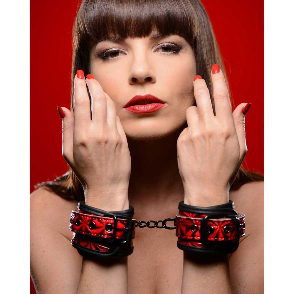 """Master Series Embossed Wrist Cuffs with Chain Red 8"""" - View #1"""