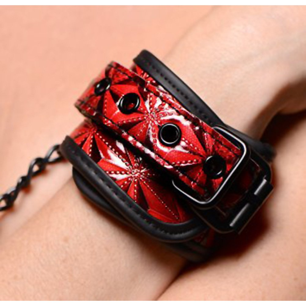 """Master Series Embossed Wrist Cuffs with Chain Red 8"""" - View #3"""