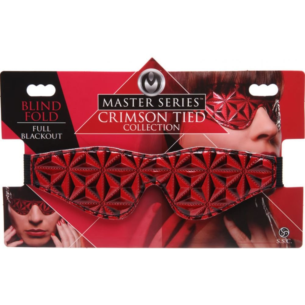 Master Series Crimson Tied Blackout Blindfold One Size Black and Red - View #4