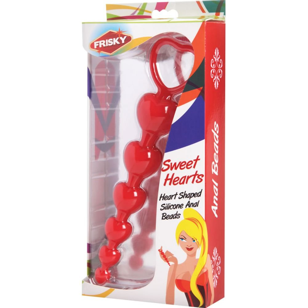 "Frisky Sweet Heart Silicone Anal Beads Red 6"" - View #1"