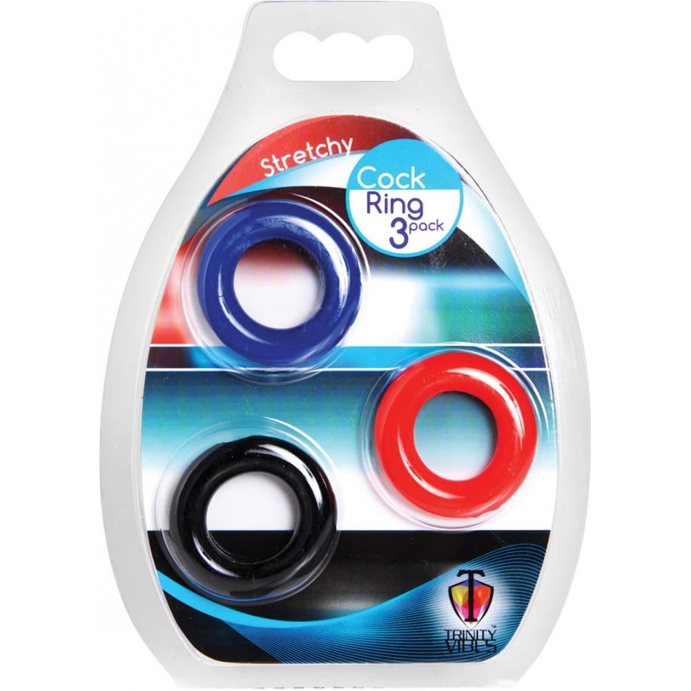 Trinity Vibes Stretchy Cock Rings 3 Piece Pack Black/Blue/Red - View #1