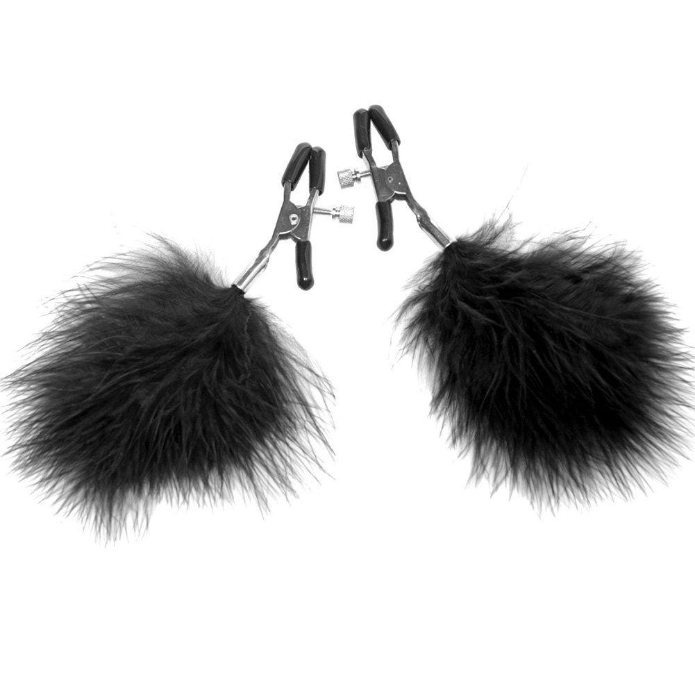 Frisky Feathered Nipple Clamps Black - View #2