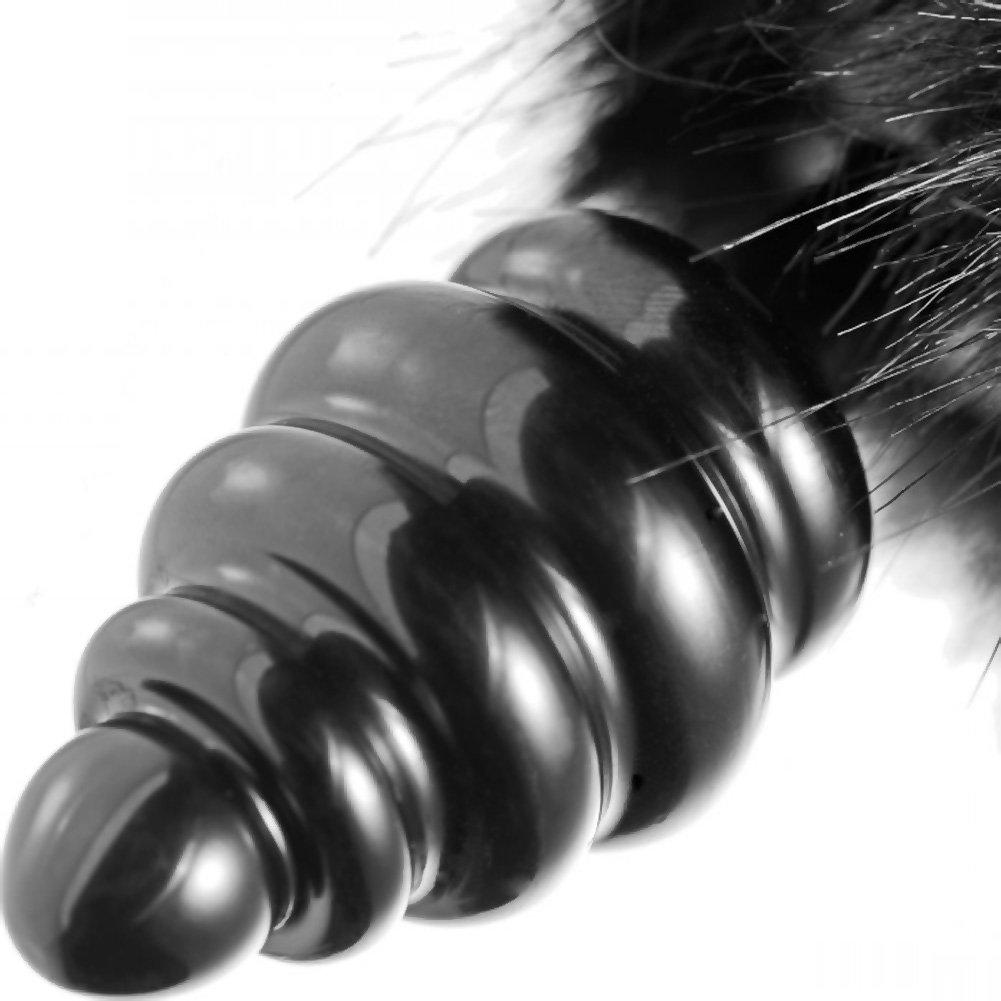 "Frisky Bumble Bunny Faux Fur Tail Anal Plug Black 5"" - View #3"