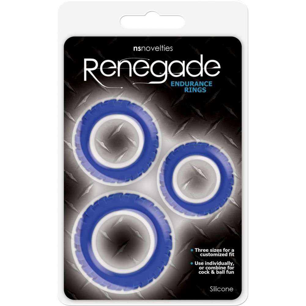 NS Novelties Renegade Endurance Rings Silicone Cockrings Blue Set of 3 - View #1