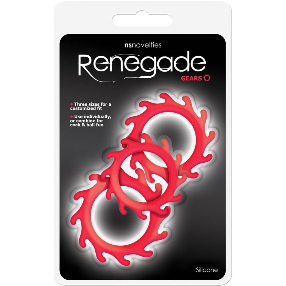 NS Novelties Renegade Gears Silicone Cock Ring Pack of 3 Red - View #1