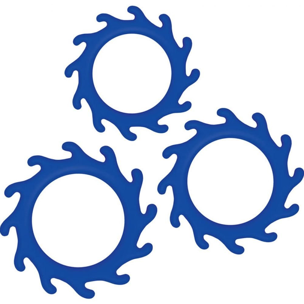 NS Novelties Renegade Gears Silicone Cock Ring Pack of 3 Blue - View #2