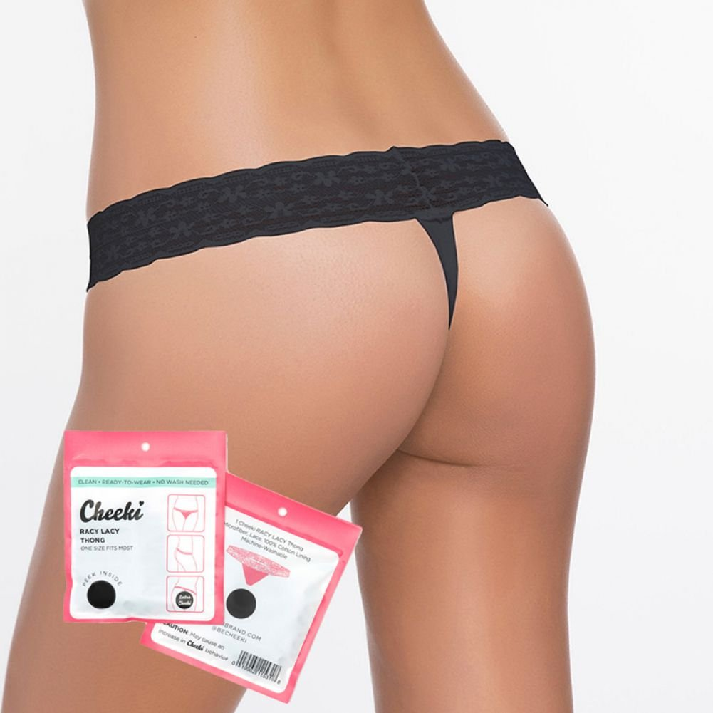 Cheeki Racy Lacy Thong Panty One Size Black - View #1