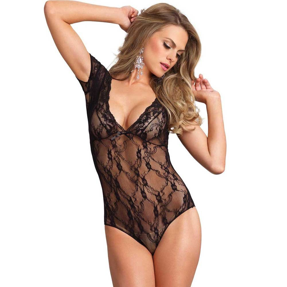 Leg Avenue Floral Lace Deep V Cap Sleeve Teddy One Size Black - View #1