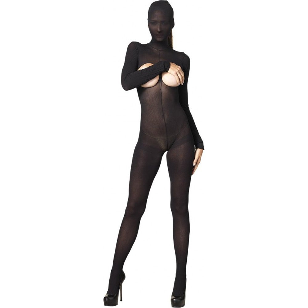 Leg Avenue Kink Collection Hooded Cupless Bodystocking One Size Black - View #1