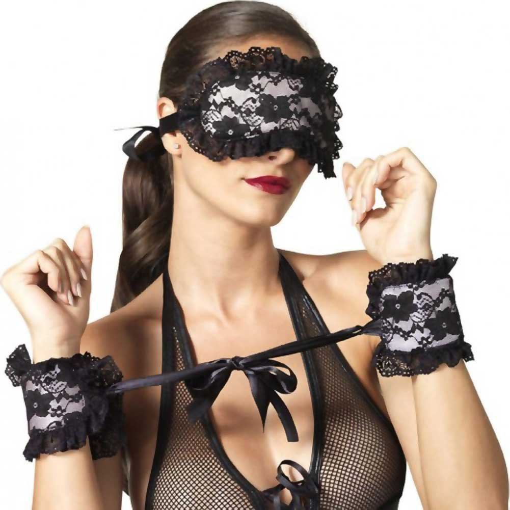 Leg Avenue Kink Collection Floral Lace and Satin Cuffs and Mask One Size Black/Pink - View #1