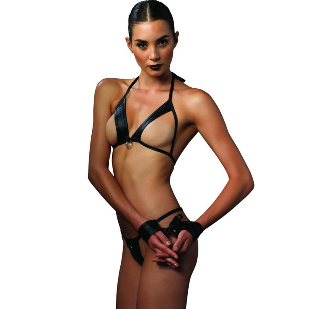 Leg Avenue Kink Collection Open Cup Bra G-String and Dual Restraints Set One Size Black - View #1