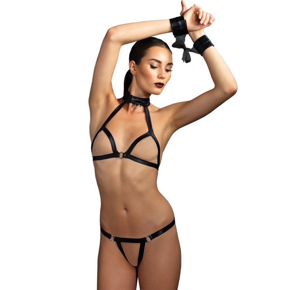 Leg Avenue Kink Collection Open Cup Halter Bra and G-String Set with Restraints One Size Black - View #1