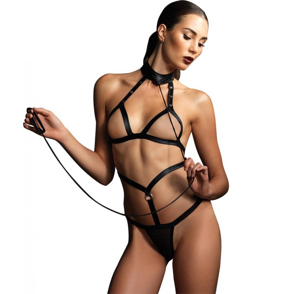 Kink Collection Strappy Bondage Teddy Open Cup Harness with G-String and Leash One Size Black - View #1