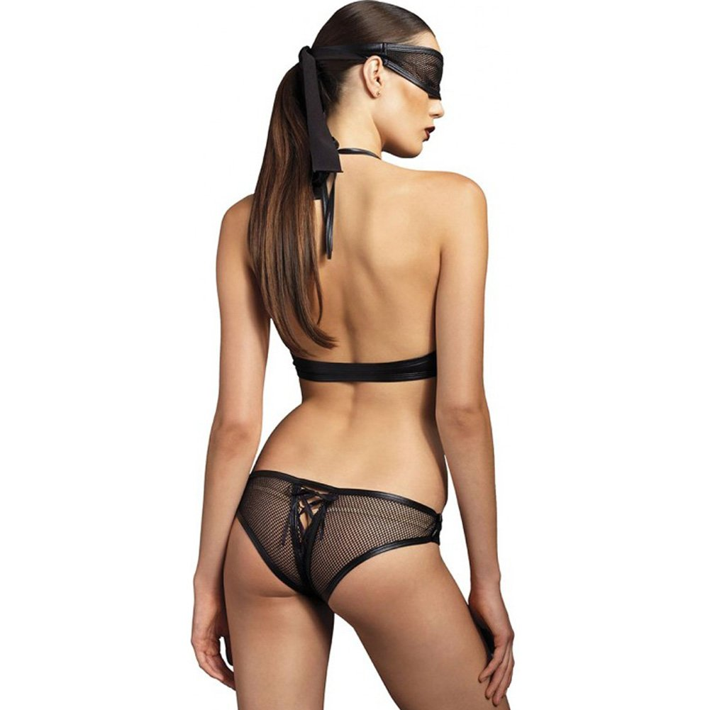 Leg Avenue Kink Collection Lace Up Fishnet Crotchless Corset and Mask Small/Medium Black - View #2
