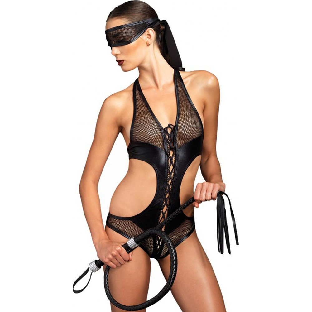 Leg Avenue Kink Collection Lace Up Fishnet Crotchless Corset and Mask Medium/Large Black - View #1