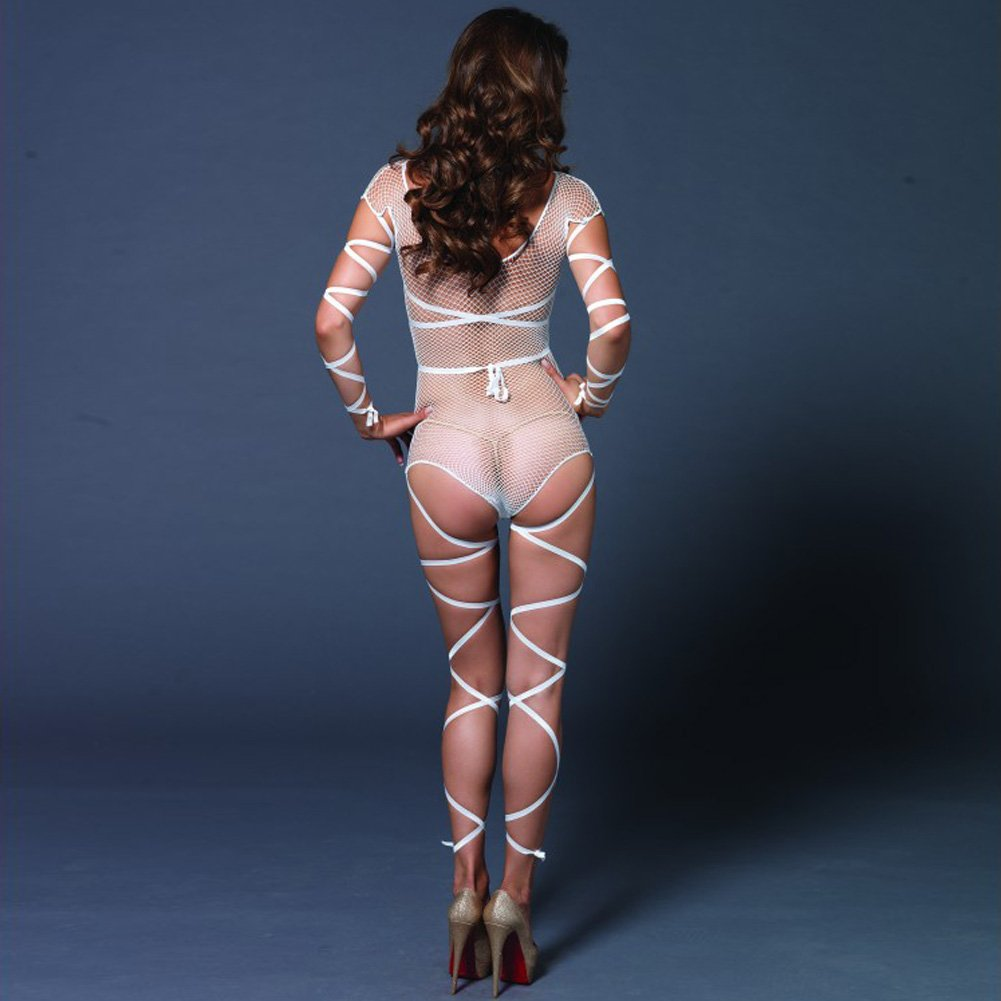 Leg Avenue Fishnet Teddy with Attached Wrap Around Straps One Size White - View #2