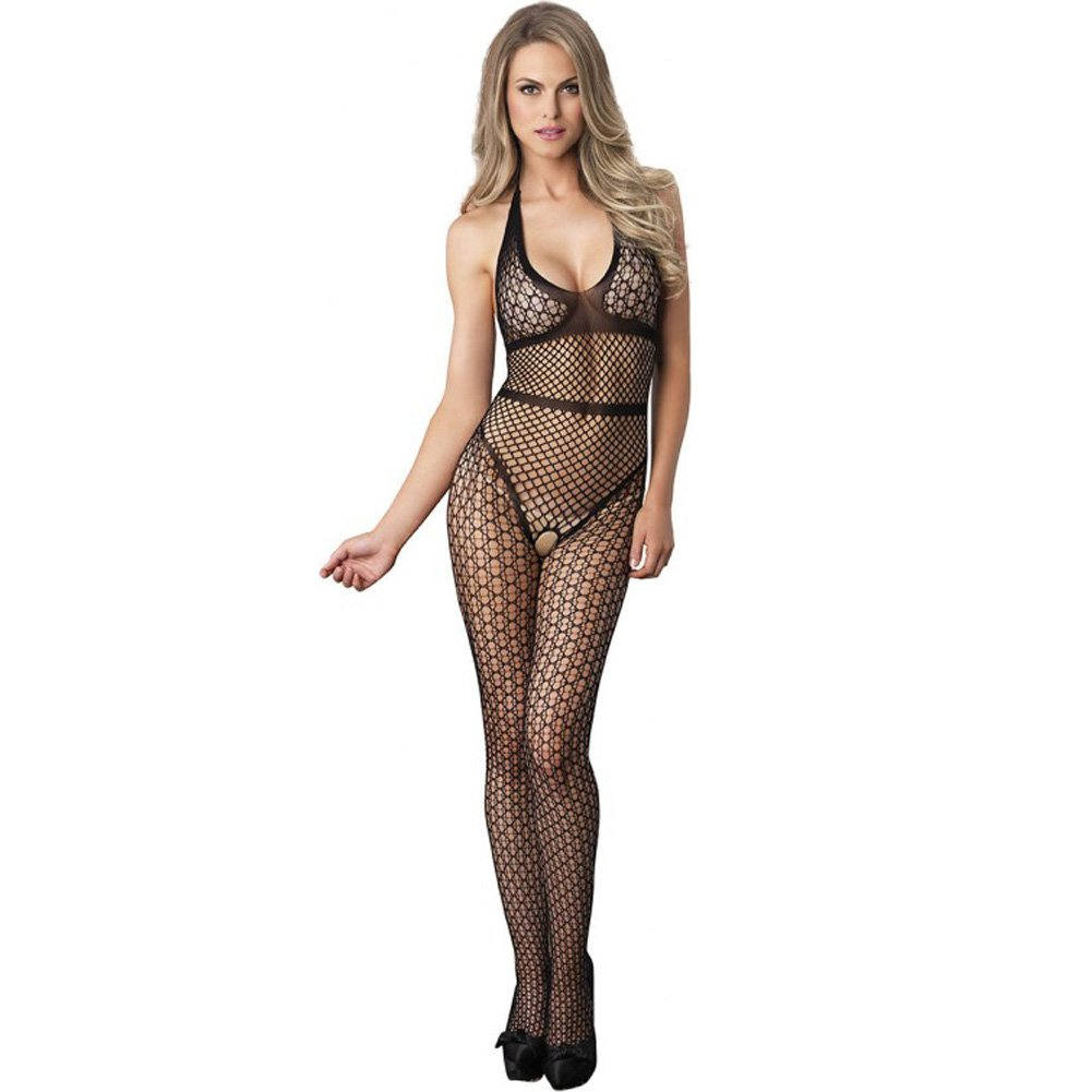 Leg Avenue Crochet Net Halter Bodystocking with Industrial Net Torso One Size Black - View #1