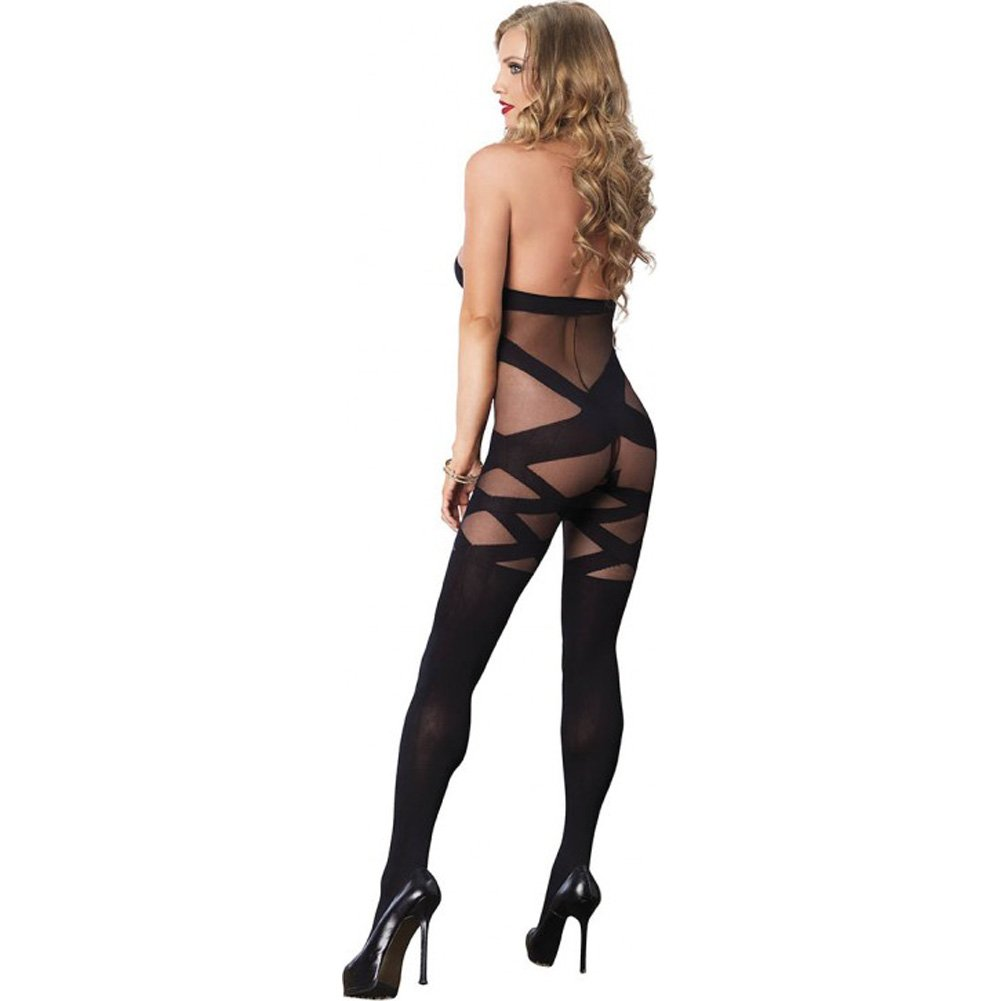Leg Avenue Opaque and Sheer Illusion Bodystocking with Keyhole Halter One Size Black - View #2