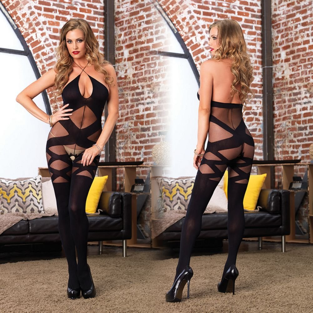 Leg Avenue Opaque and Sheer Illusion Bodystocking with Keyhole Halter One Size Black - View #4