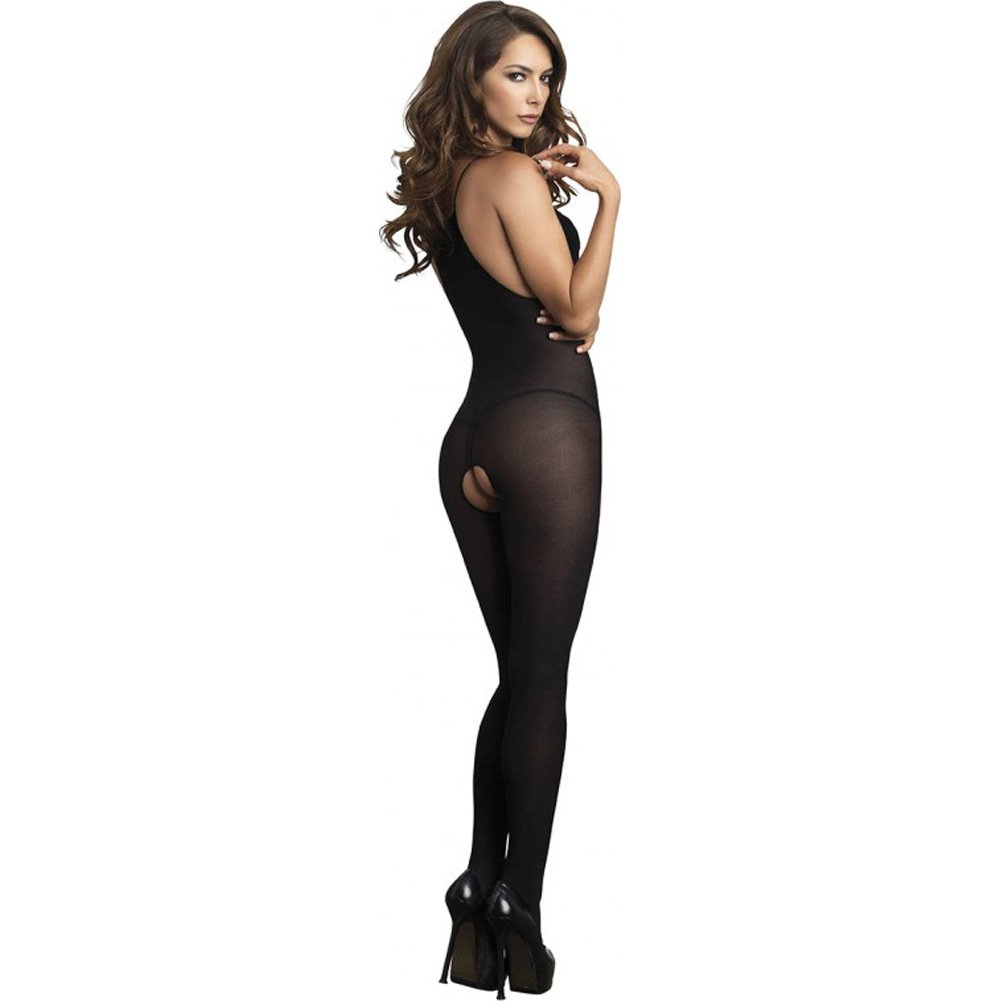 Leg Avenue Opaque Bodystocking with Deep-V Eyelash Lace Keyhole One Size Black - View #2