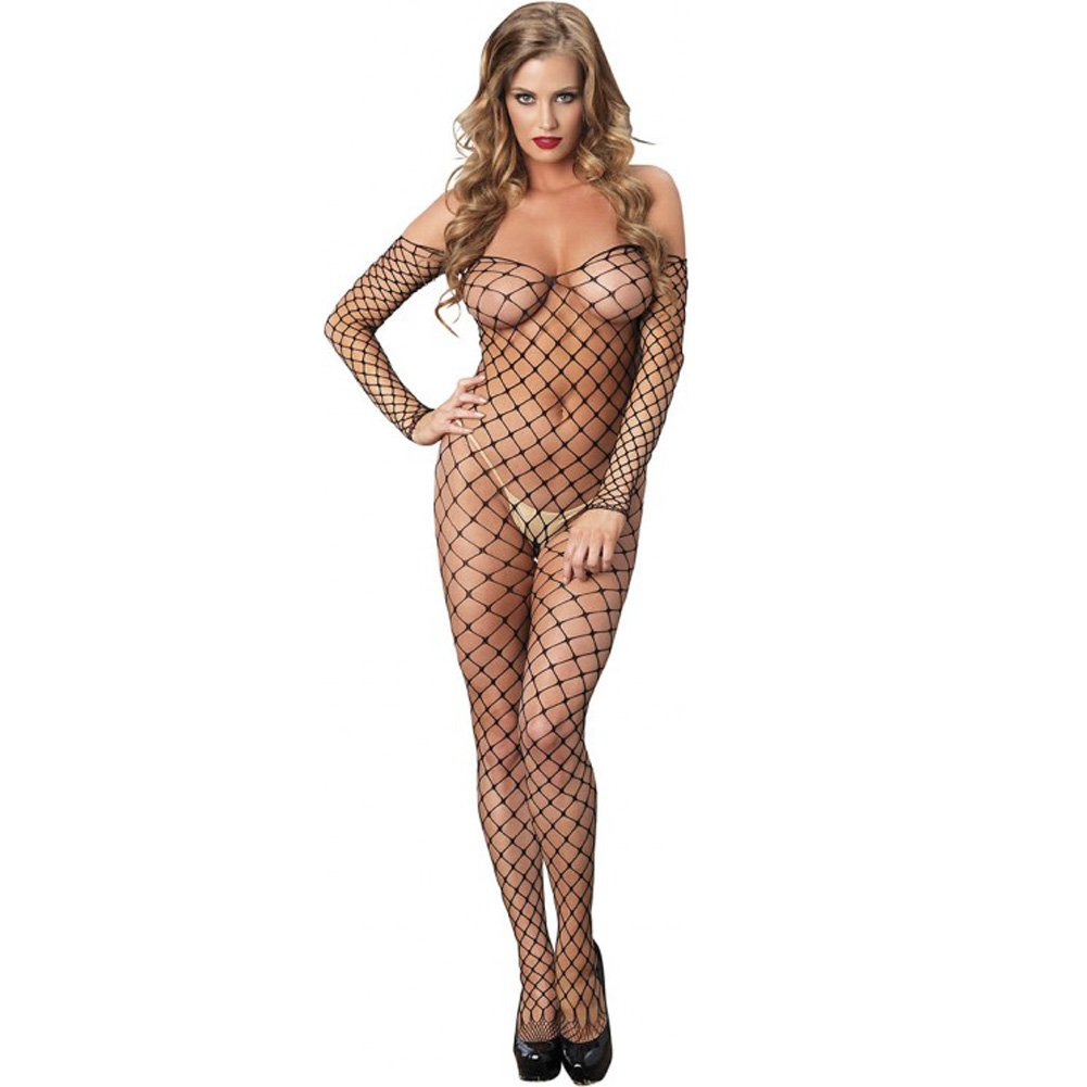 Leg Avenue Fence Net Off the Shoulder Open Bottom Bodystocking One Size Black - View #1