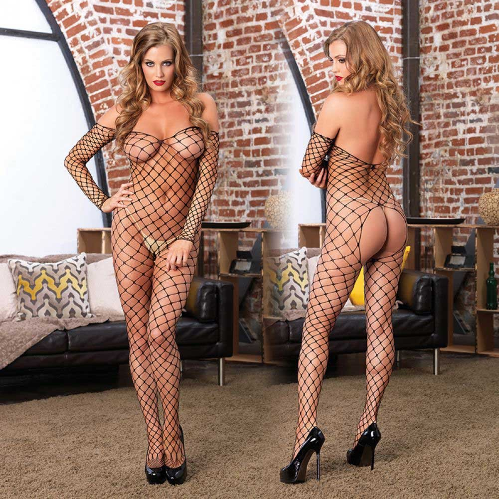 Leg Avenue Fence Net Off the Shoulder Open Bottom Bodystocking One Size Black - View #3