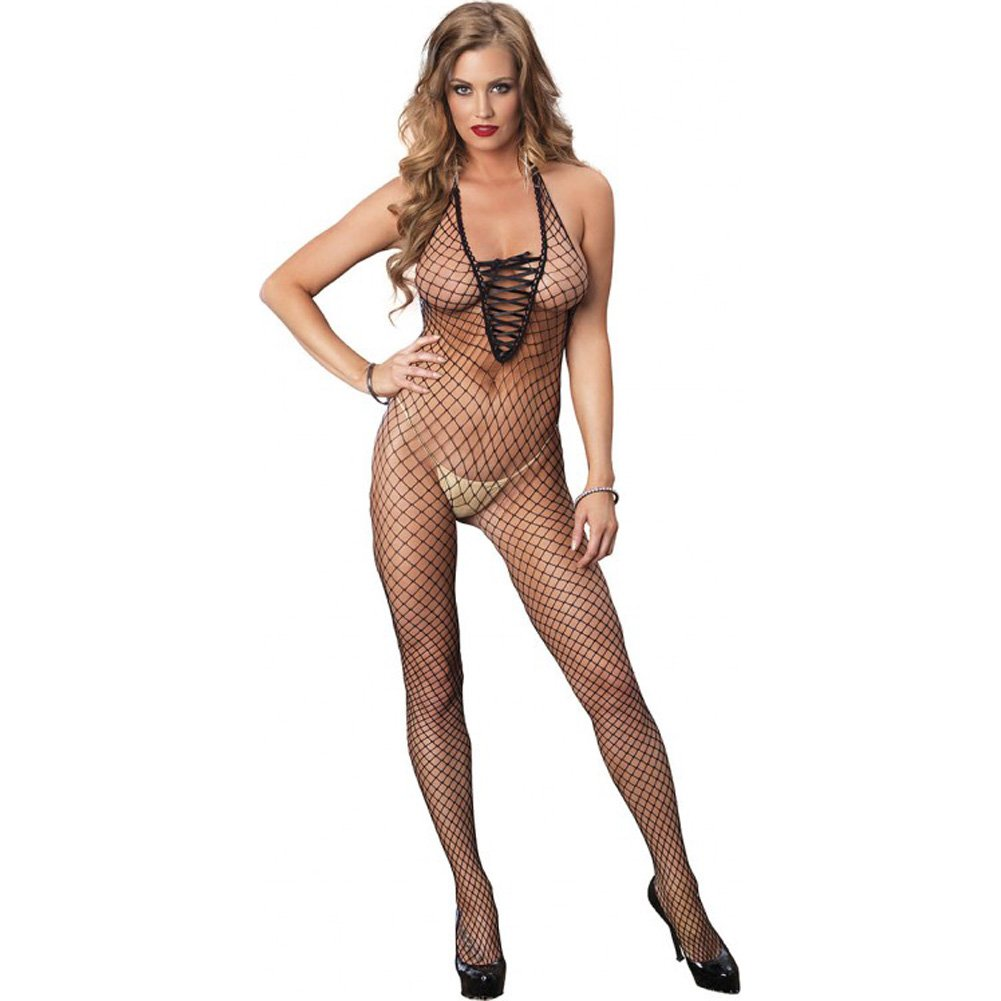Leg Avenue Industrial Net Deep-V Lace Up Halter Crotchless Bodystocking One Size Black - View #1