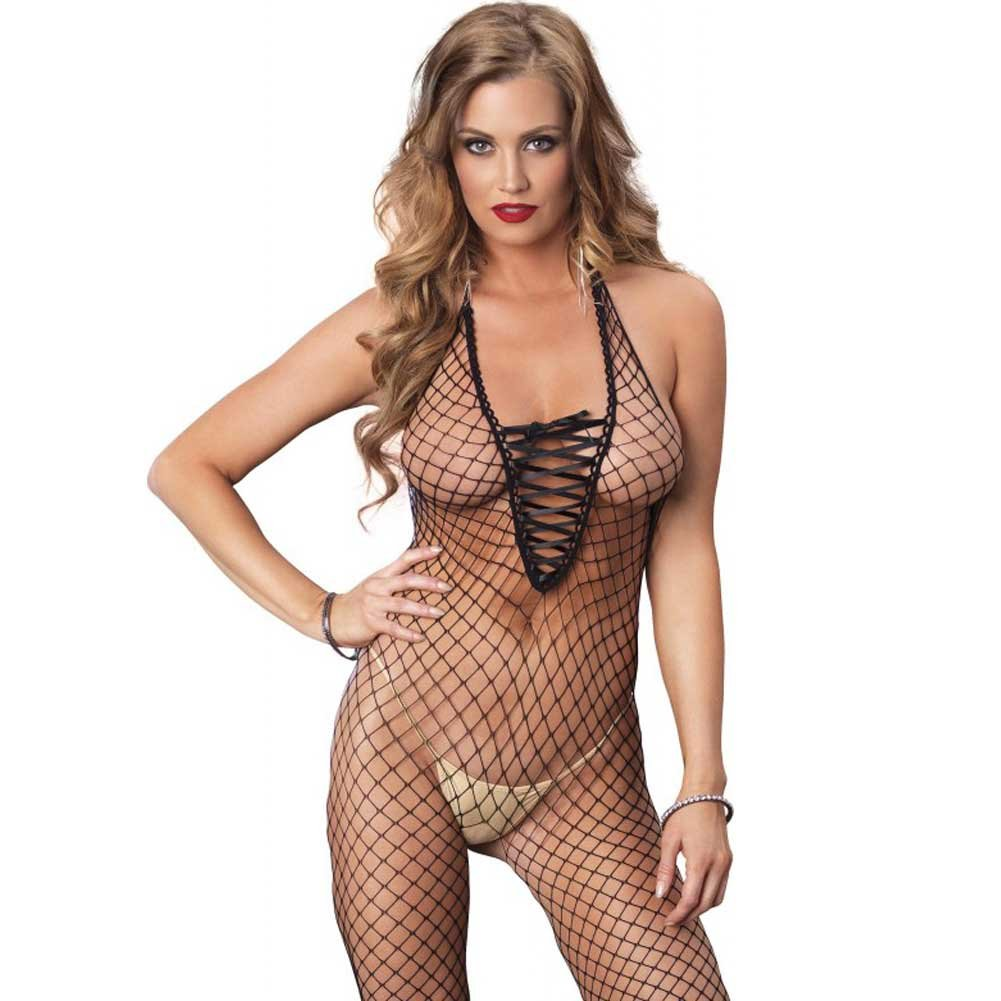 Leg Avenue Industrial Net Deep-V Lace Up Halter Crotchless Bodystocking One Size Black - View #3