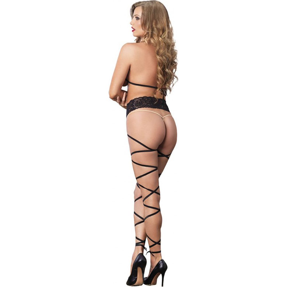 Leg Avenue Lace Cage Strappy Wrap Around Bodystocking One Size Black - View #2