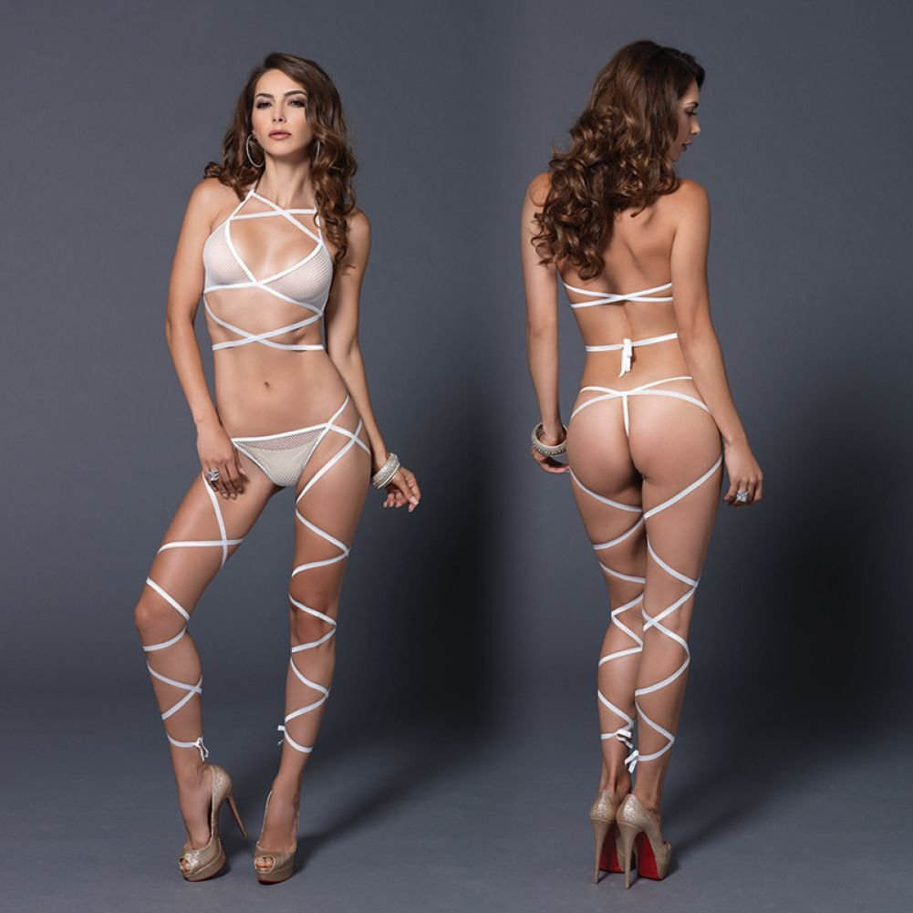 Leg Avenue Wrap Around Fishnet Halter Top and G-String Set White One Size - View #4