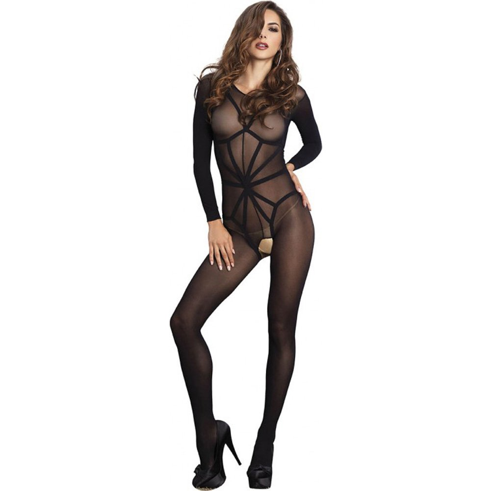Leg Avenue 2 Piece Opaque Long Sleeve Bodystocking with Harness Teddy Overlay One Size Black - View #1