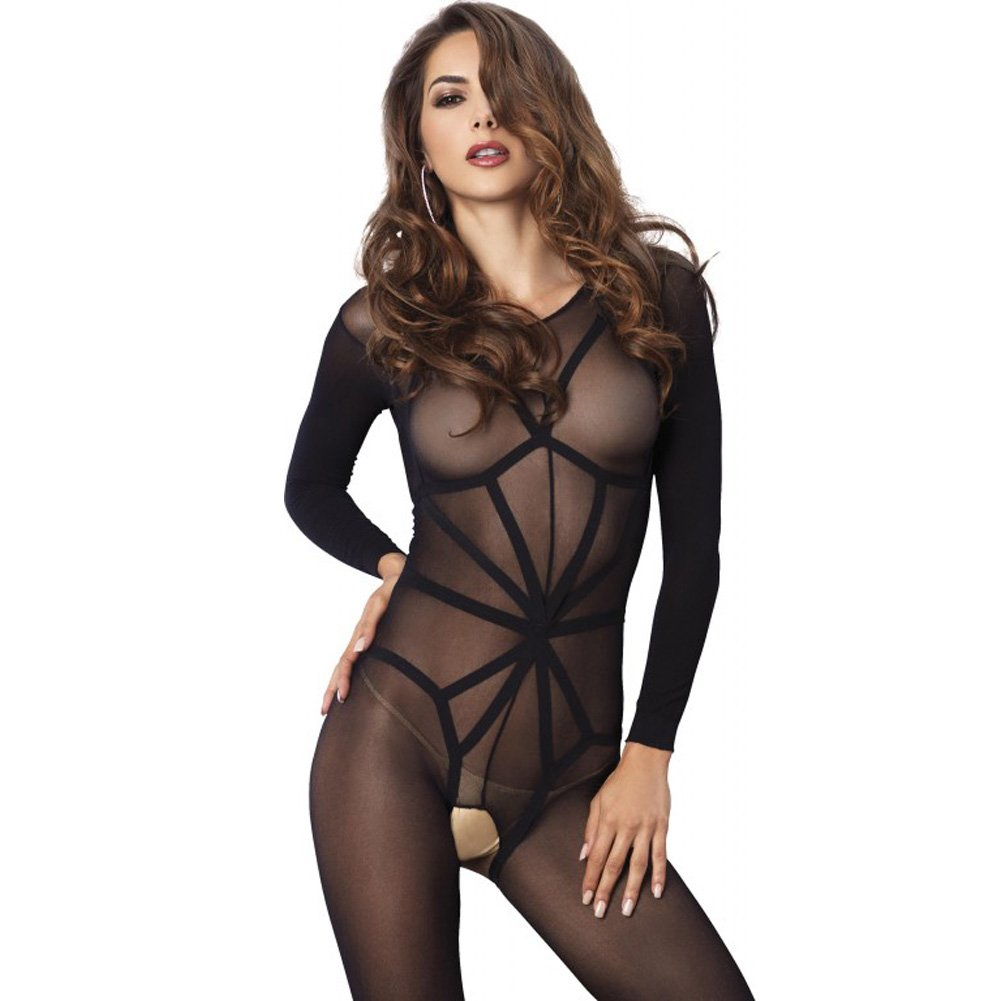 Leg Avenue 2 Piece Opaque Long Sleeve Bodystocking with Harness Teddy Overlay One Size Black - View #3