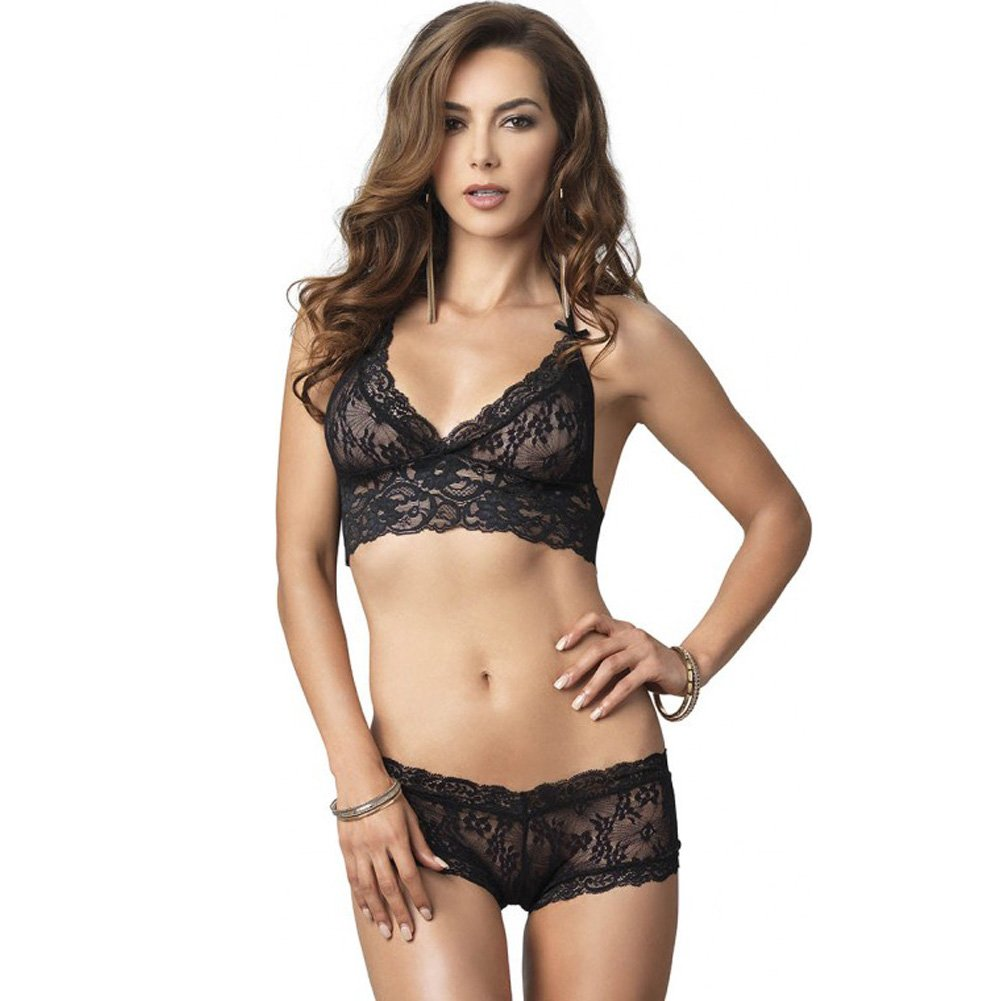 Leg Avenue Lace Halter Bra Top with Matching Cut Out G-String Booty Short Small/Medium Black - View #1