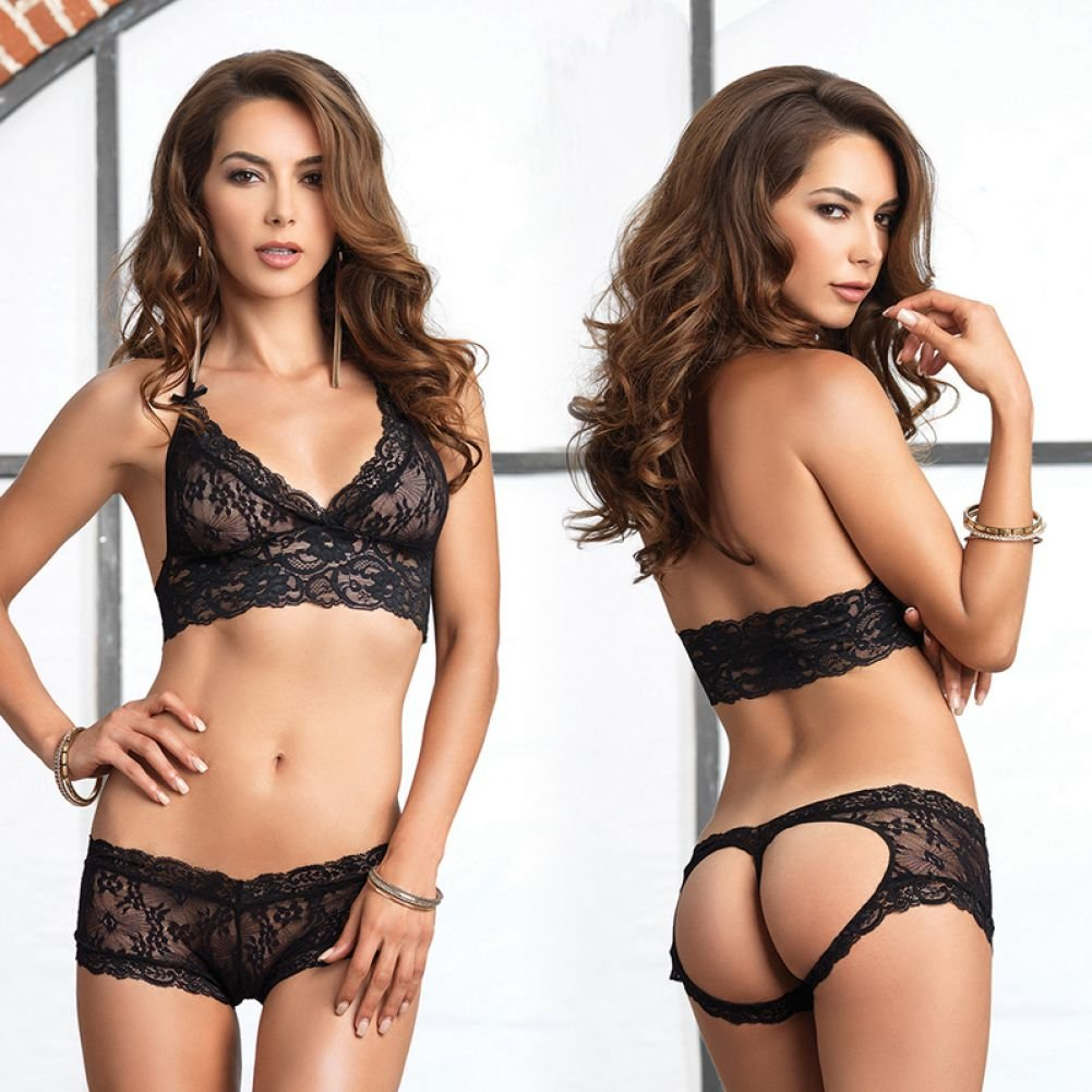 Leg Avenue Lace Halter Bra Top with Matching Cut Out G-String Booty Short Small/Medium Black - View #3