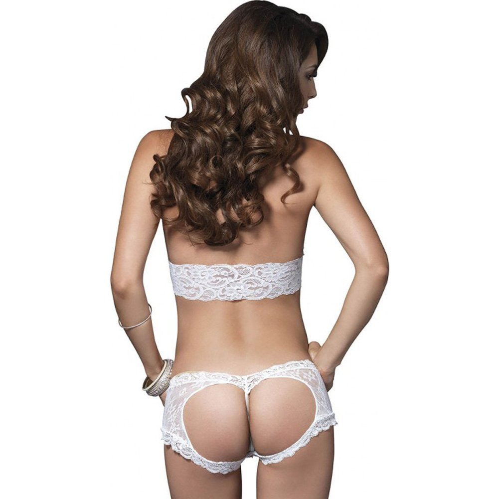 Leg Avenue Lace Halter Bra Top with Matching Cut Out G-String Booty Short Medium/Large White - View #2
