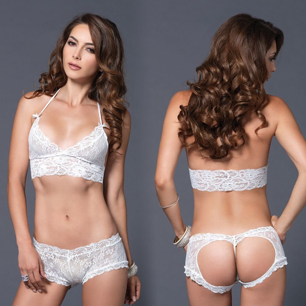 Leg Avenue Lace Halter Bra Top with Matching Cut Out G-String Booty Short Medium/Large White - View #4