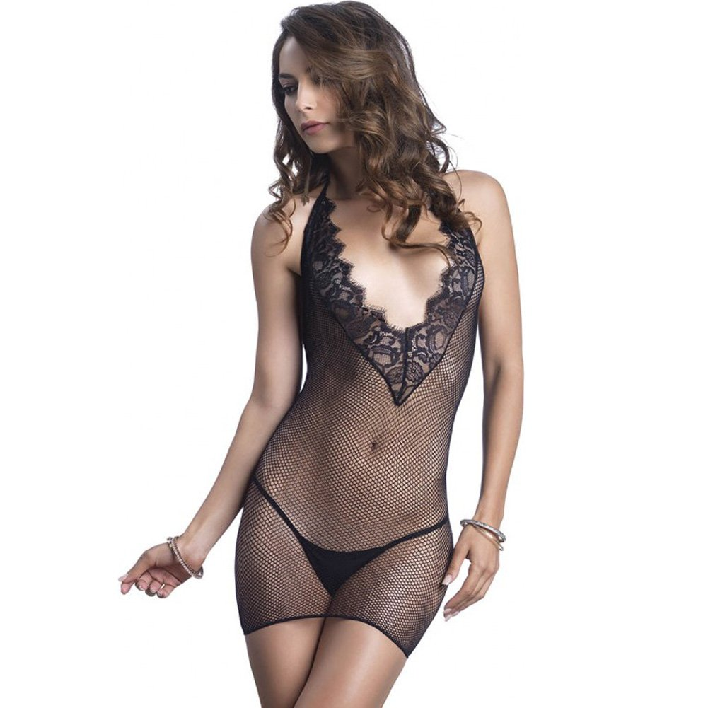 Leg Avenue Fishnet Halter Deep-V Mini Dress with Eyelash Lace Detail One Size Black - View #3