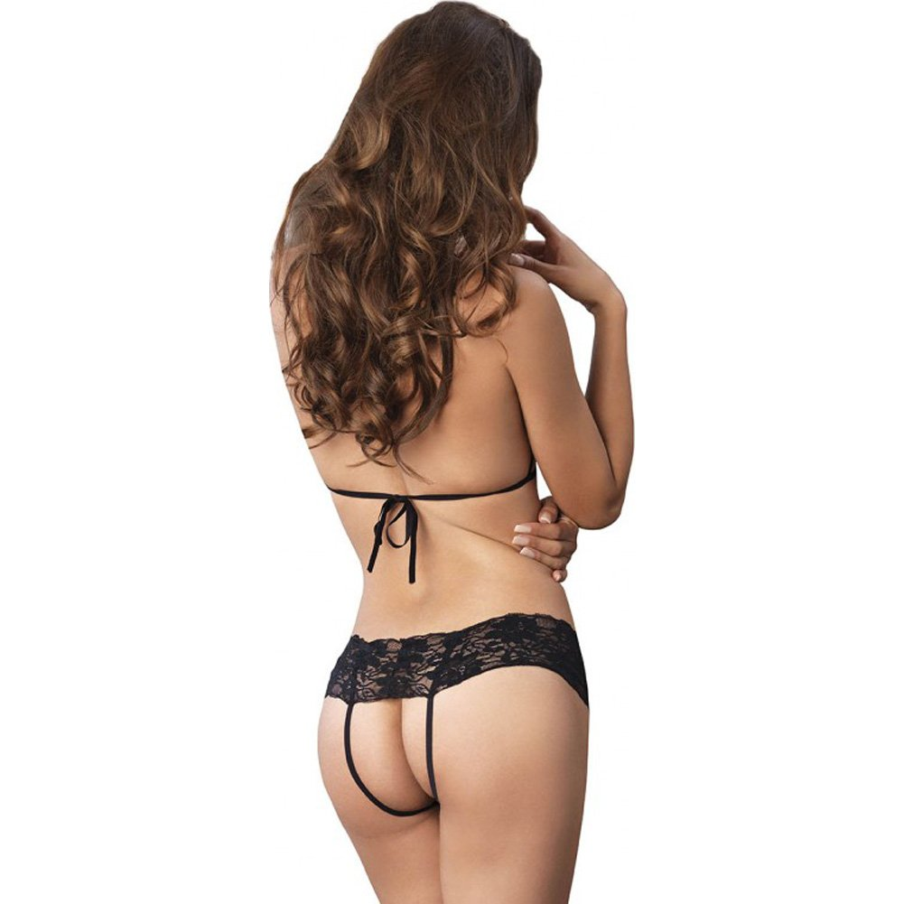Leg Avenue Lace Peek-a-Boo Cupless Halter Bra Top and Crotchless Panty Black One Size - View #2