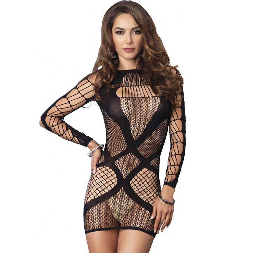 Leg Avenue Multi Net Long Sleeve Mini Dress One Size Black - View #1