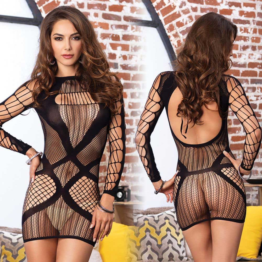 Leg Avenue Multi Net Long Sleeve Mini Dress One Size Black - View #3