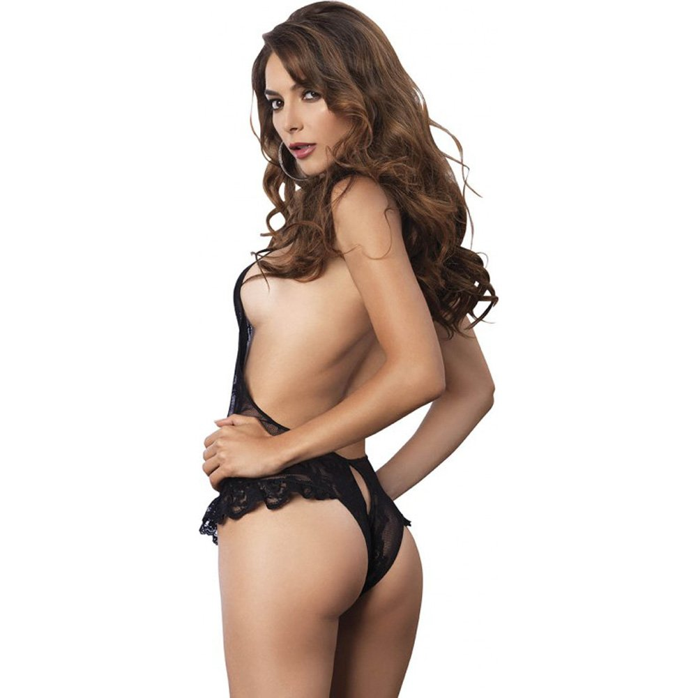 Leg Avenue Floral Lace Deep-V Cutout Crotchless Halter Teddy with Brazilian Back One Size Black - View #2