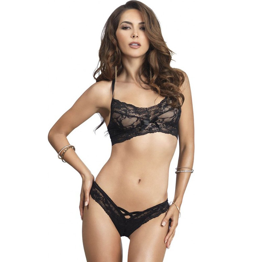 Leg Avenue Lace Halter Bralette and Cutout Thong Set One Size Black - View #1