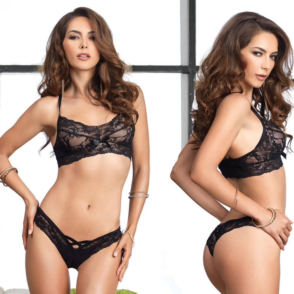 Leg Avenue Lace Halter Bralette and Cutout Thong Set One Size Black - View #3
