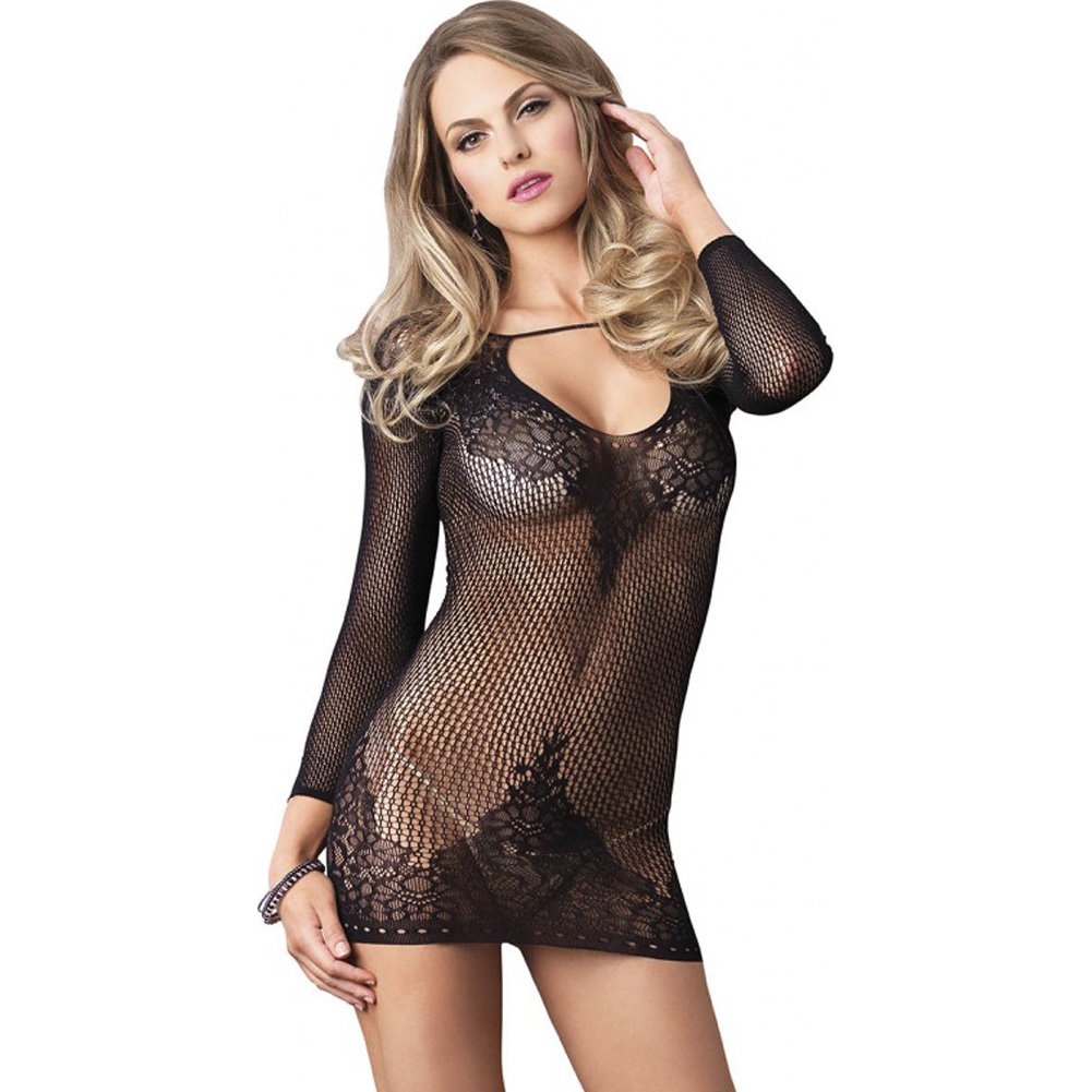 Leg Avenue Long Sleeve Ring Net and Floral Lace Mini Dress One Size Black - View #1